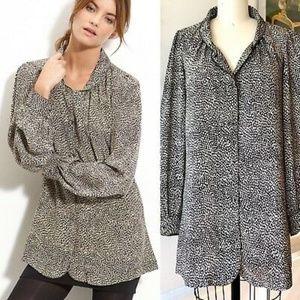 Winter Kate Silk Button Up Print Tunic Top Dress